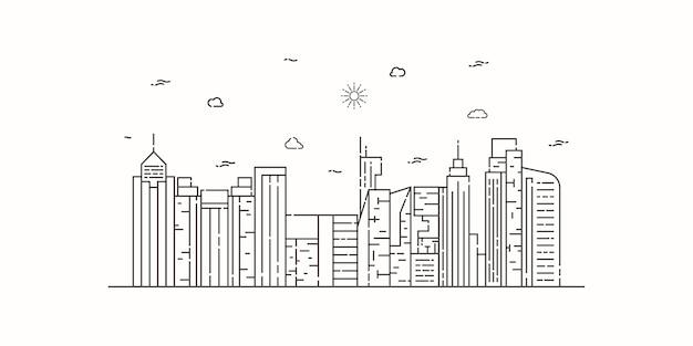 Ilustração da arte da linha da paisagem da cidade