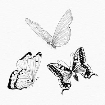 Ilustração da arte da linha das borboletas