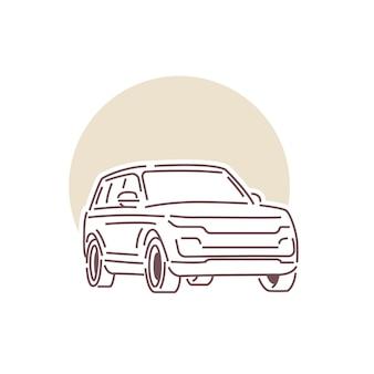 Ilustração da arte da linha de luxo do carro perfeita para logotipo, ícone, design de impressão