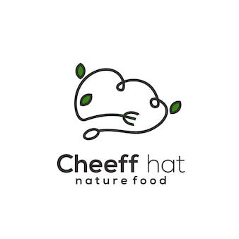 Ilustração da arte da linha do chef retro do logotipo