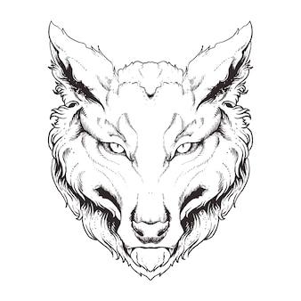 Ilustração da arte da linha do lobo
