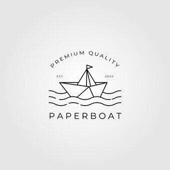 Ilustração da arte da linha do logotipo do barco de papel