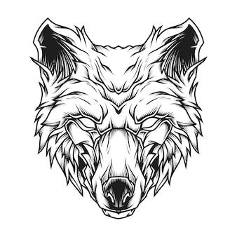 Ilustração da arte da linha wolf head