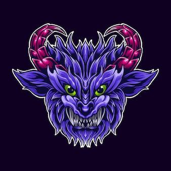 Ilustração da arte da mascote do logotipo do chifre de cabra demônio roxo