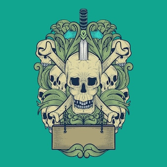 Ilustração da arte do crânio com estilo de gravura