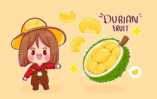 Ilustração da arte do desenho animado de uma linda garota agricultora e durian