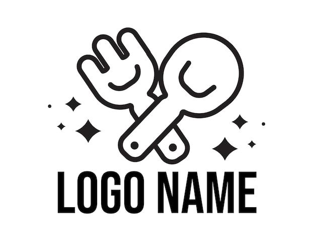 Ilustração da arte do logotipo de comida colher e garfo