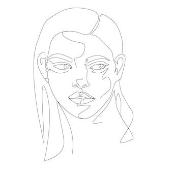 Ilustração da arte do rosto feminino de uma linha