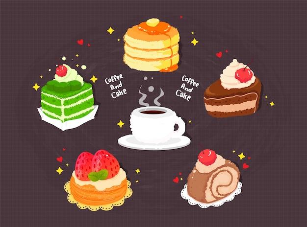 Ilustração da arte dos desenhos animados com café e bolo desenhado à mão