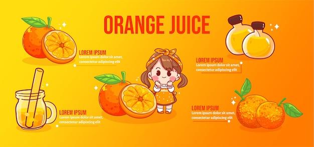 Ilustração da arte dos desenhos animados de uma garota feliz e bonita com suco de laranja