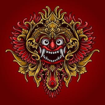 Ilustração da arte e camiseta barong balinês