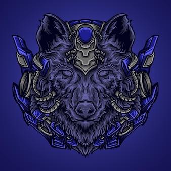Ilustração da arte e camiseta lobo robô