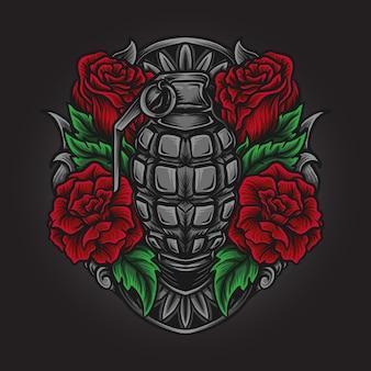 Ilustração da arte e desenho da camiseta com granada e ornamento com gravura em rosa