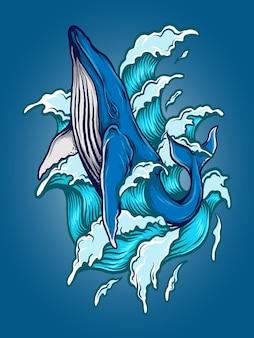 Ilustração da arte e desenho da camiseta da baleia