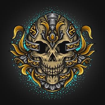 Ilustração da arte e desenho da camiseta do crânio e ornamento da gravura