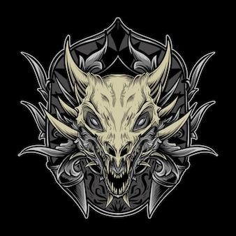Ilustração da arte e desenho da camiseta do dragão caveira em gravura de ornamento