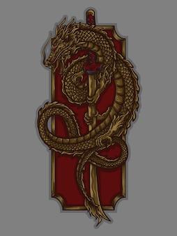 Ilustração da arte e desenho da camiseta dragão e ornamento de gravura de espada katana