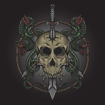 Ilustração da arte e desenho da camiseta espada do crânio e ornamento da gravura da cobra