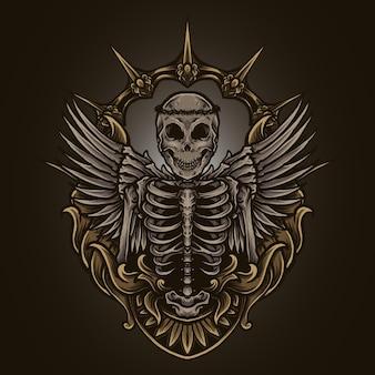 Ilustração da arte e desenho da camiseta esqueleto anjo gravura ornamento