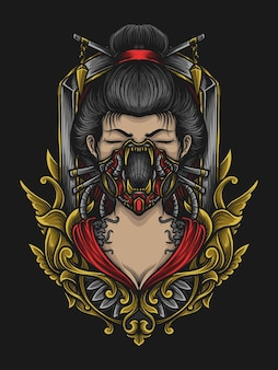 Ilustração da arte e desenho da camiseta gueixa máscara de gás gravura ornamento