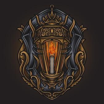 Ilustração da arte e desenho da camiseta lanterna gravura ornamento