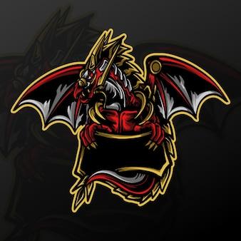 Ilustração da arte e desenho da camiseta logotipo do mascote do dragão
