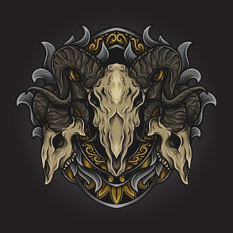 Ilustração da arte e desenho da camiseta ornamento da gravura do crânio da cabra