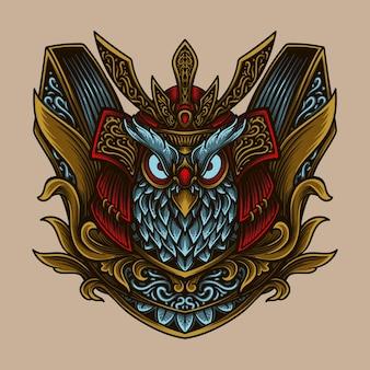 Ilustração da arte e desenho da camiseta samurai coruja gravura ornamento Vetor Premium