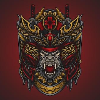 Ilustração da arte e desenho da camiseta samurai gorila gravura ornamento