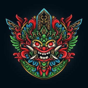 Ilustração da arte e design da camiseta asteca barong gravura ornamento