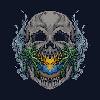 Ilustração da arte e design da camiseta da praia do crânio