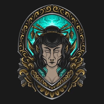 Ilustração da arte e design da camiseta mecha gueixa gravura ornamento