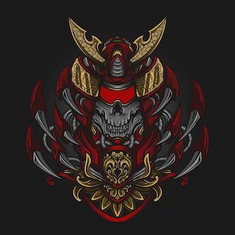 Ilustração da arte e design da camiseta mecha samurai ornamento da gravura do crânio