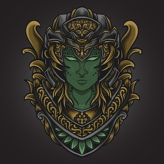 Ilustração da arte e design da camiseta mulheres alienígenas gravura ornamento