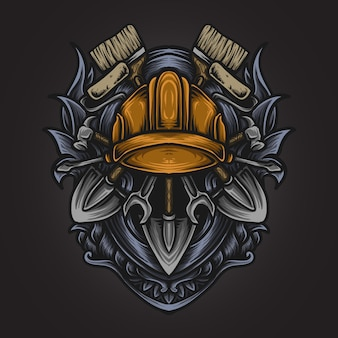 Ilustração da arte e design da camiseta trabalho conjunto gravura ornamento