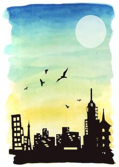 Ilustração da arte finala da paisagem da aquarela no por do sol e silhuetas de edifícios magníficos.