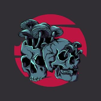 Ilustração da arte finala e tshirt projetam crânios