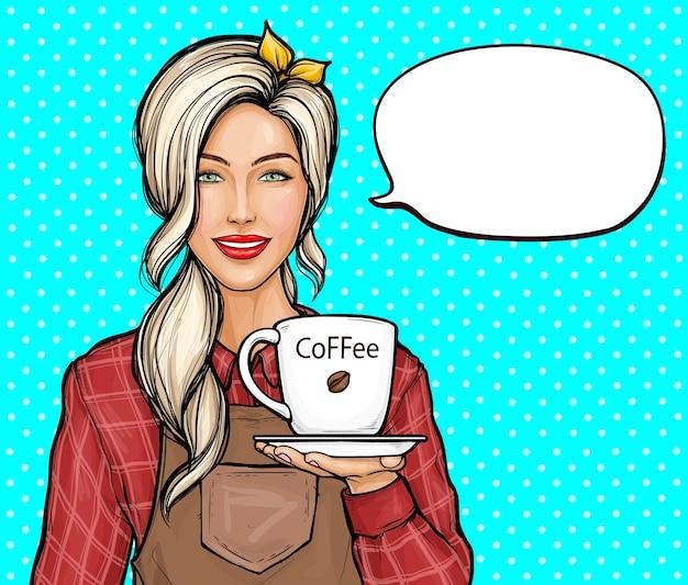 Ilustração da arte pop de mulher barista. mulher sorridente de camisa e avental segurando a xícara de café.