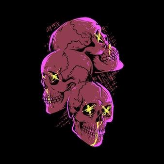 Ilustração da arte pop de terror de caveiras