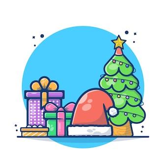 Ilustração da árvore de natal com caixa de presente