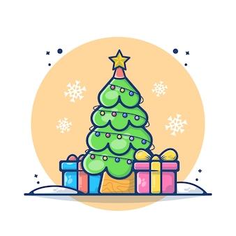Ilustração da árvore de natal com uma caixa de presente e um floco de neve