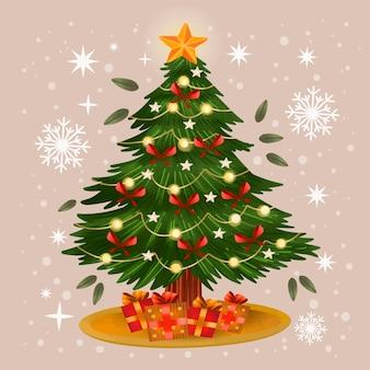 Ilustração da árvore de natal em aquarela