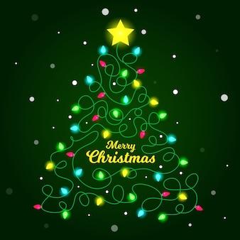 Ilustração da árvore de natal feita de lâmpadas