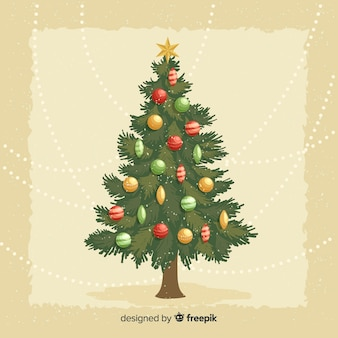 Ilustração da árvore de natal vintage
