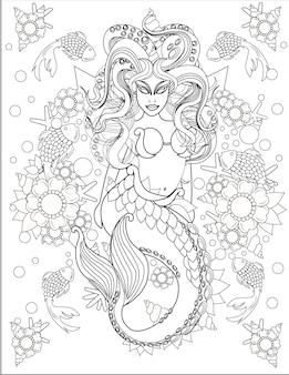 Ilustração da aterrorizante sereia nadando junto com peixinhos sob a água.