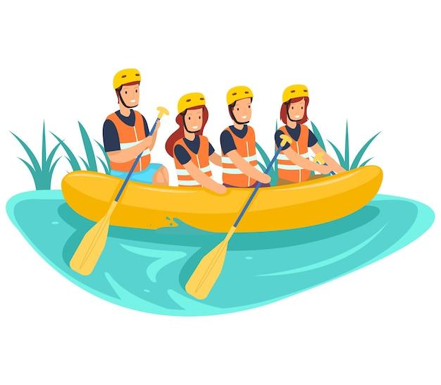 Ilustração da atividade de rafting no rio isolada no fundo branco