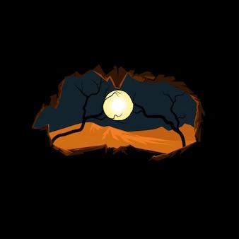 Ilustração da atmosfera da caverna noturna