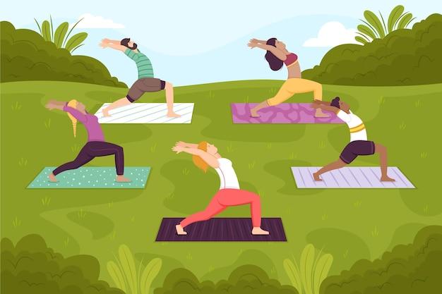 Ilustração da aula de ioga ao ar livre