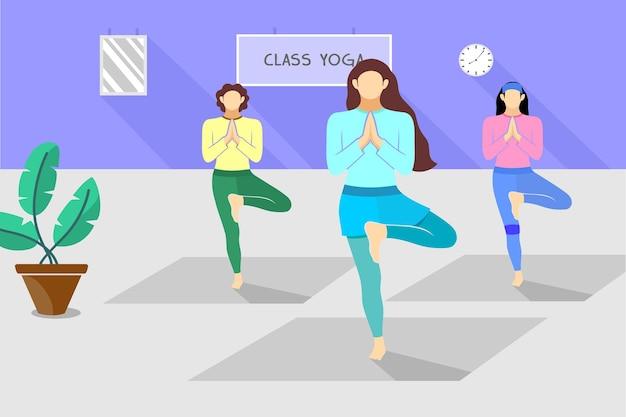 Ilustração da aula de ioga feminina