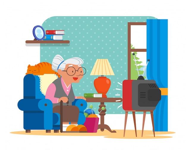 Ilustração da avó sentada na poltrona e assistindo tv